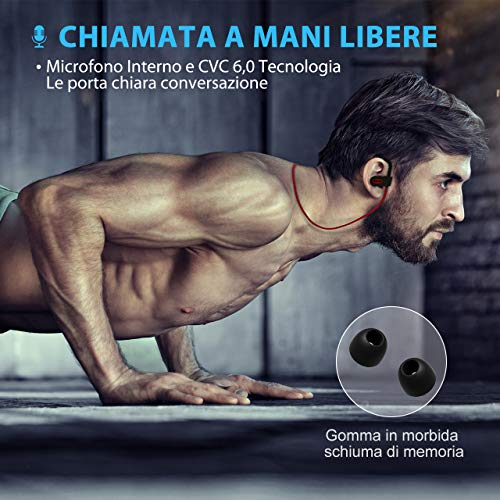 Cuffie Wireless Sport Bass+, Mpow IPX7 Flame Auricolari Bluetooth Sport CVC 6.0, con Qualità Audio HD e Stabile, Cuffie Bluetooth 4.1 In-ear con Eva Borsa per iPhone(IOS), Android – Rosso