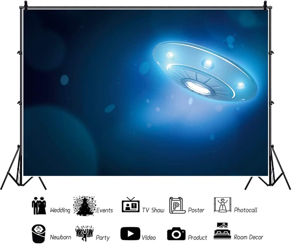 YEELE UFO with Glowing Lights Backdrop 10x8ft Kids Birthday Party Photography Background Science Fiction Pictures Outer Space Theme Kids Adult Portrait Photobooth Props Digital Wallpaper
