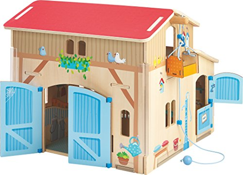 HABA Little Friends Folding Farm Play Set with Stalls, Gates