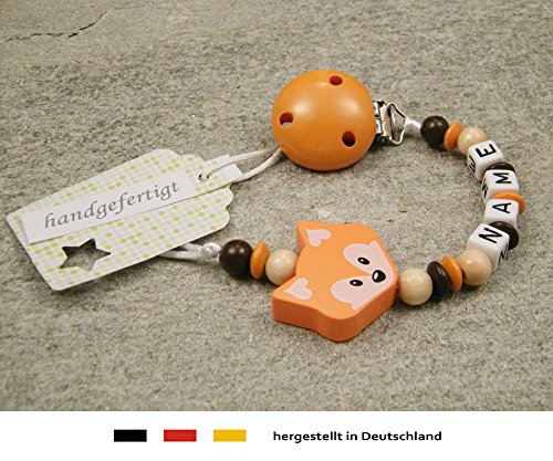 Baby SCHNULLERKETTE mit NAMEN | Schnullerhalter mit Wunschnamen - Mädchen & Jungen Motiv Fuchs in orange kleinerStorch