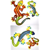 """SET 4 CLEARANCE LARGE 21"""" AND 12"""" Beautiful Unique GREEN BLUE Gecko Lizard Metal Garden Lanai Tropical Island Wall Art SCRATCH AND DENT SALE"""