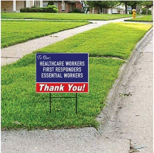 Moonlight4225 Thank You Stay Safe Printed 2-Sided Wire H Stake Included 24 x 18 or 36 x 24 First Responders Health Care v4 Essential Workers 1, 24 x 18 Yard Sign