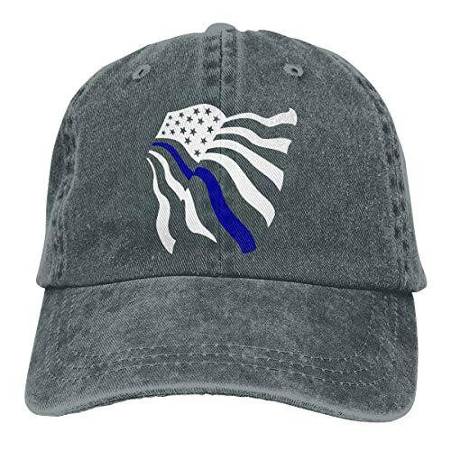 American Flag Blue Color Thin Line Denim Hat Adjustable Plain Cap Baseball Caps