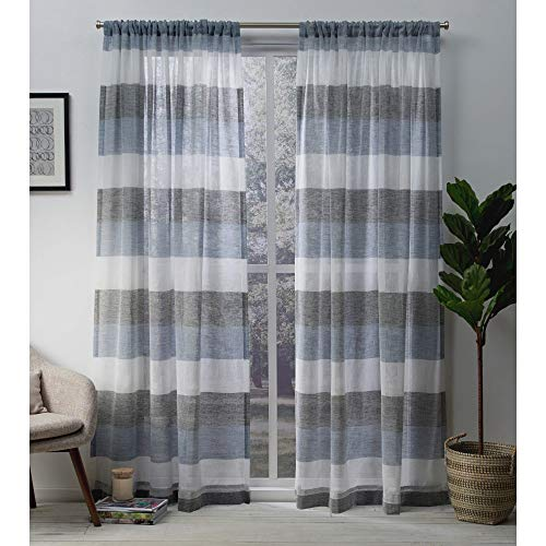 (Exclusive Home Curtains Bern Stripe Sheer Window Curtain Panel Pair with Rod Pocket, 54x96, Indigo, 2 Piece)