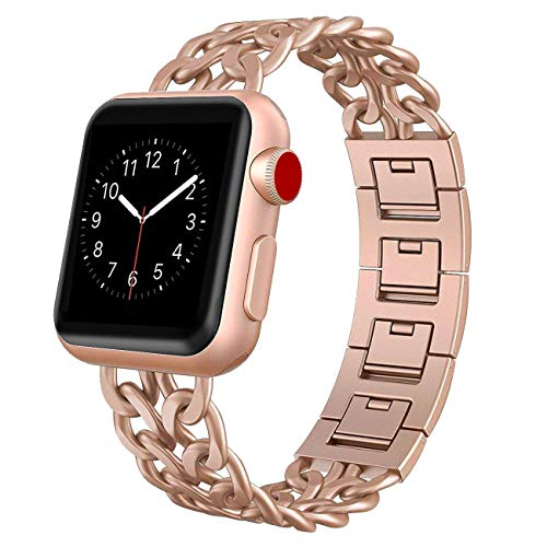 AmzAokay Replacement bands Compatible for Apple Watch 38mm 42mm Stainless Steel Metal Cowboy Chain Strap for Apple Watch 40mm 44mm Series 4 3 2 1 Sport and Edition (Gold Matches Series 3&4, 38mm/40mm)