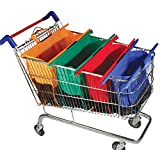 Reusable Foldable Washable Supermarket Shopping Cart Trolley Grocery Bags 4 Bags Organized Shopping