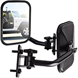 OxGord Side Mirror for Jeep Wrangler (Driver & Passenger Side) Quick Release with Adjustable Arms - Rectangular, Black