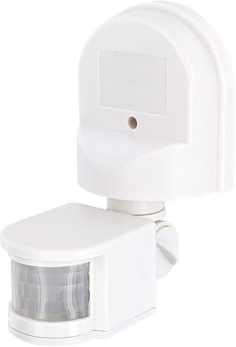 Detector de movimiento IP44 IR 180 º, con sensor de oscuridad, orientable y giratorio