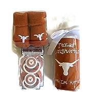 Texas Longhorns Baby Gift Set UT Burnt Orange Booties BPA Free Baby Bottle with UGA Koozie 2 Pacifiers Toxin-Free NCAA Licensed Infant Socks