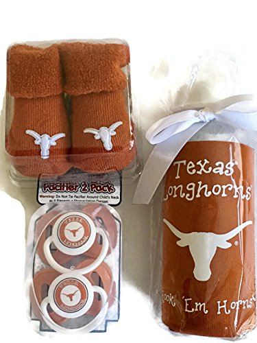 Texas Longhorns Baby Gift Set UT Burnt Orange Booties BPA Free Baby Bottle with UGA Koozie 2 Pacifiers Toxin-Free NCAA Licensed Infant Socks (Gear Baby Longhorns Texas)