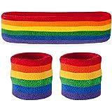 Suddora Sweatband Set - (1 Headband and 2 Wristbands) Cotton for Sports & More. (Rainbow)