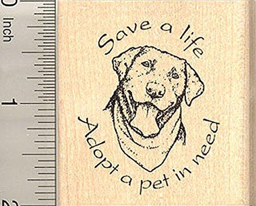 Dog Rescue Rubber Stamp, Save a life, Adopt a pet, Black Labrador Retriever