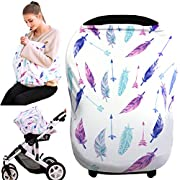 baby car seat cover, nursing covers breastfeeding cover carseat canopy (feather)