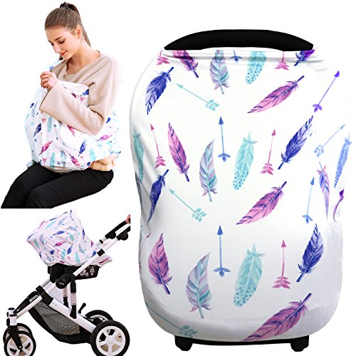 Hicoco Nursing Cover Carseat Canopy - Baby Breastfeeding Cover, Car Seat Covers for Babies, Multi Use Nursing Scarf, Infant Stroller Cover, Boys and Girls Shower Gifts (Feather)