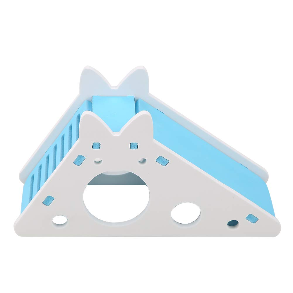 GLOGLOW Wooden Triangle Hamster House Assembling Climbing Stairs Rat Hut Mouse Cage Small Animal Exercise Pet Toys(Blue)