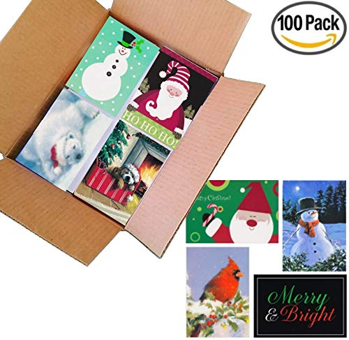 100 Wholesale Traditional Christmas Cards with Envelopes: Classic Holiday Designs, General Audience, on Recycled Paper (10 Designs - 5x7)