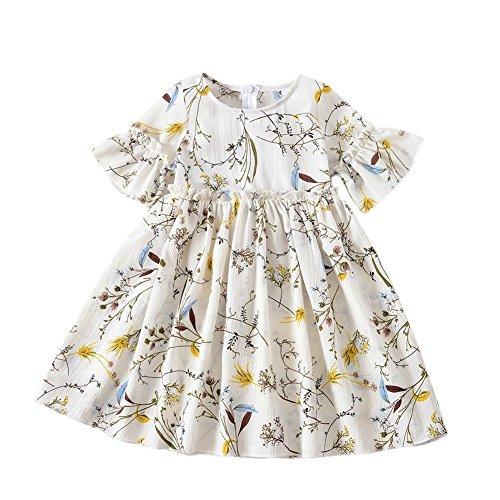 Manches À Volants Col Rond Fille Enfant Weixinbuy Robes De Fleurs Pageant Partie Vêtements Blanc