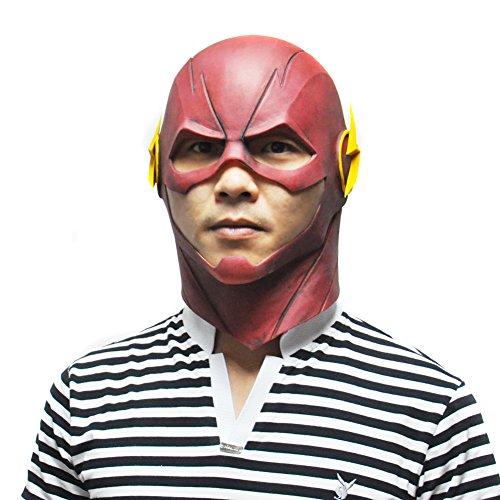 SHEENROAD Halloween Movie Cosplay Full Head Latex Mask Red The Flash Mask (Latex Masks Halloween)