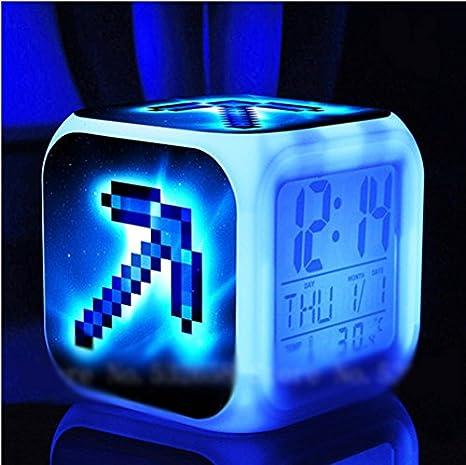 Minecraft Digital LED cubo Reloj despertador 7 colores dibujos animados: Amazon.es: Hogar