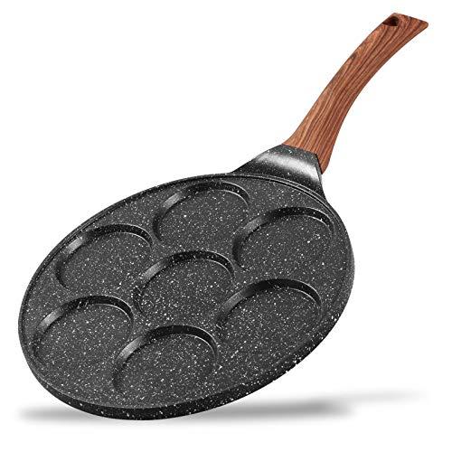 ESLITE LIFE Pancake Maker Pan Flapjack Blini Pan 7 Mold Nonstick Breakfast Griddle Induction Compatible, 10 Inch