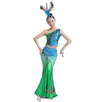 Wgwioo frauen umbrella tanz lange kleider ethnische pfau tanz fisch ...