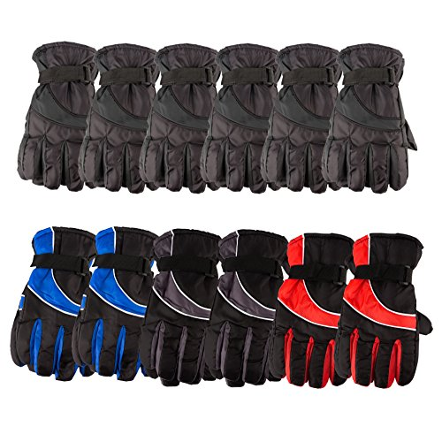 12 Pack of excell Mens Winter Warm Waterproof Ski Gloves, One Size Fits All - Ski Wholesale
