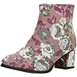 Qupid Women's Low Heeled Bootie with Heel Ornament Ankle Boot Mauve Multi Fabric 7 M US