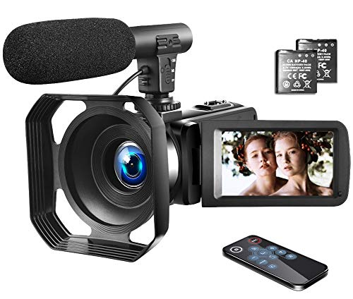 4K Video Camera Camcorder with Microphone Vlogging Camera YouTube Camera Recorder Ultra HD 30MP 3.0″ IPS Touch Screen with Lens Hood & 2 Batteries