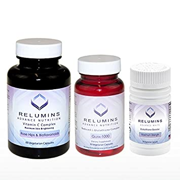 Relumins Advance Nutrition Gluta 1000, Vitamin C MAX Booster Capsules – 3 Piece ULTIMATE WHITENING SET – NEW AND IMPROVED NOW WITH ROSE HIPS