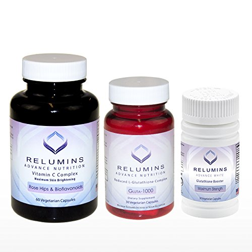 Price comparison product image NEW RELUMINS SET! - Relumins Advance Nutrition Gluta 1000,  Vitamin C MAX & Booster Capsules - Ultimate Whitening Set - NEW AND IMPROVED now with Rose Hips