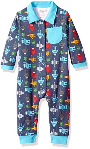 Zutano Baby Boys' Long Sleeve Romper, Bots, 12M (6-12 Months)
