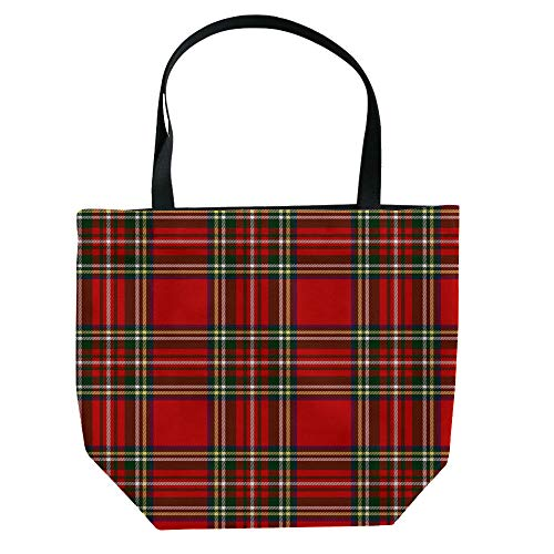 iPrint Handbag Canvas Shoulder Bag Small and Fresh Literature and Art,Red Plaid,Lumberjack Clothing Inspired Square Pattern Checkered Grid Style Quilt Design,Scarlet Black,Picture Print Design. ()