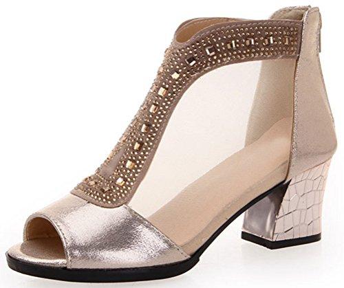 [T&Mates Ladies Breathable Mesh Peep Toe Rhinestone Chunky Mid Heel Dress Pump Sandals (9] (Traditional Russian Outfits)