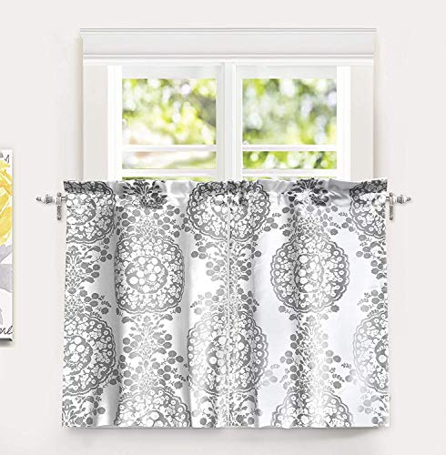 DriftAway Samantha Floral Damask Medallion Pattern Kitchen Tier Window Treatment 2 Panels Each 30 Inch by 36 Inch Plus 1 Inch Header Gray (Cafe Gray Curtains)
