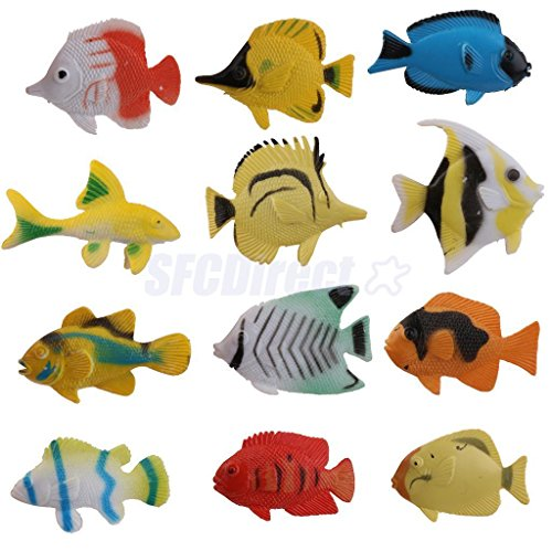 12 Plastic Tropical Aquatic Sea Fish Ocean Creatures Animals Figure Kids Toy