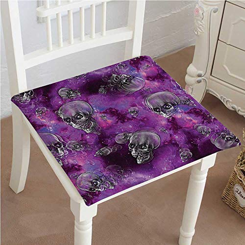 Chair Pads Squared Seat Horror Movie Themed Flying Skull Heads Halloween in Outer Space Image Black and Outdoor Dining Garden Patio Home Kitchen Office 30