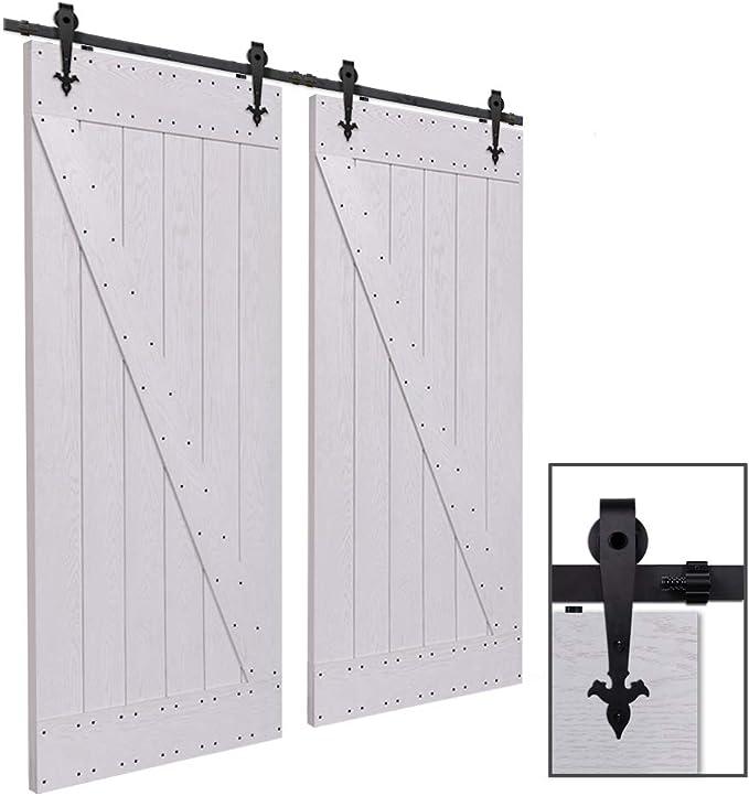 CCJH 7FT-214cm Herraje para Puerta Corredera Kit de Accesorios para Puertas Correderas Rueda Riel Juego para Dos Puertas de Madera: Amazon.es: Bricolaje y herramientas