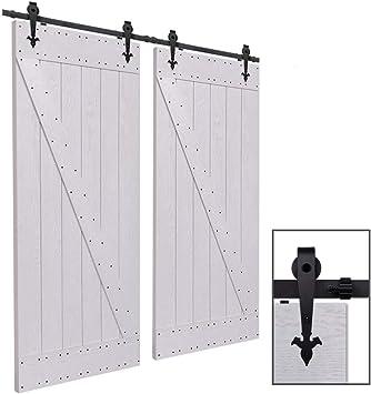 CCJH 9FT-275cm Herraje para Puerta Corredera Kit de Accesorios para Puertas Correderas Rueda Riel Juego para Dos Puertas de Madera: Amazon.es: Bricolaje y herramientas