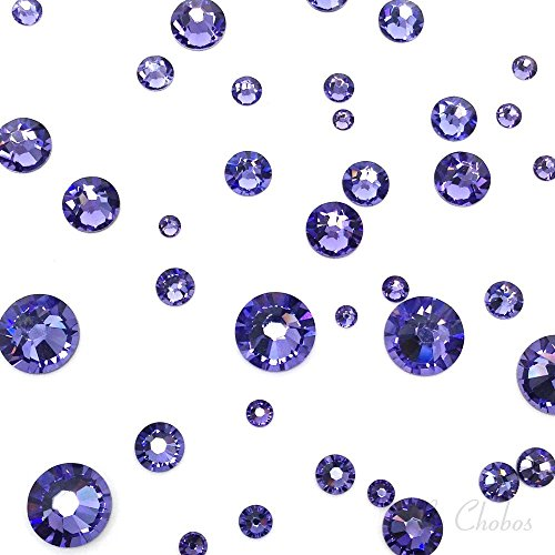 - TANZANITE (539) purple violet 144 pcs Swarovski 2058/2088 Crystal Flatbacks purple rhinestones nail art mixed with Sizes ss5, ss7, ss9, ss12, ss16, ss20, ss30