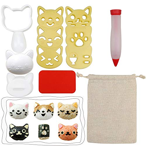 Cute Cartoon Cat Pattern Rice Ball Mold DIY Porphyra Sushi Nori Bento Kitchen Rice Molds 6 Sets with 1pc Sauce Decorating Pen in A Burlap ()