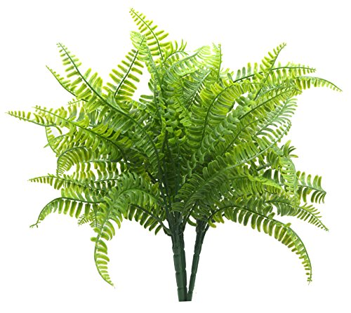 Bird Fiy Boston Fern with Wicker Decorative Silk Plant Simulation Greenery Bushes Indoor Outside Home Garden Office Verandah Wedding Décor 2PCS