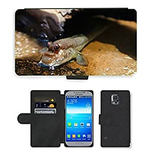 PU LEATHER case coque housse smartphone Flip bag Cover protection // M00117323 Animales Acuáticos Ojos Criatura Fish // Samsung Galaxy S5 S V SV i9600 (Not Fits S5 ACTIVE)