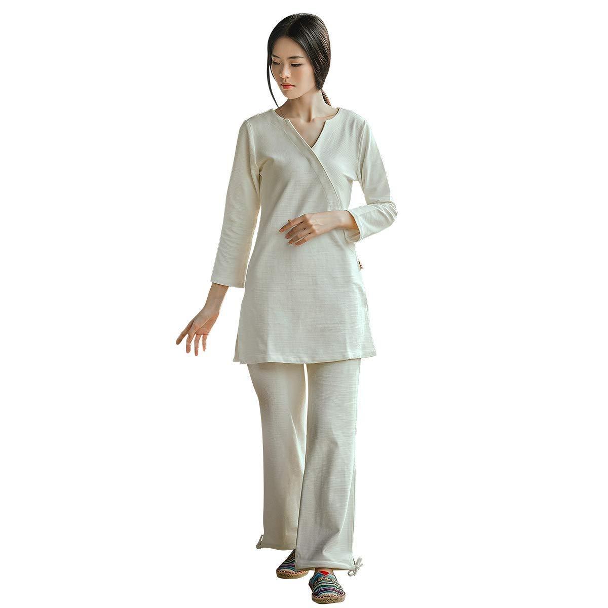 太極拳制服禅瞑想服セット仏教の女性のヨガの服武術スーツ衣装中国のカンフー服綿,白,M 白い Medium