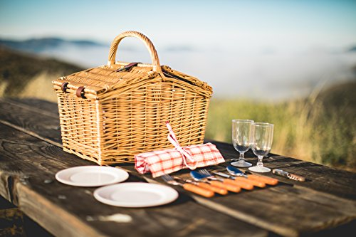 Picnic Time Piccadilly Willow Picnic Basket for Two People, with Plates, Wine Glasses, Cutlery, and Corkscrew – Red/White Plaid