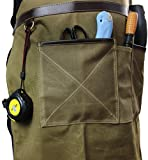 INNO STAGE Tools Apron,Waxed Canvas Work Bib Aprons with Pockets,Full Coverage Utility Apron,Hand Tool Organizers,Gardening Carpentry Lawn Care Accessories for Women and Men