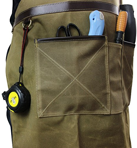 INNO STAGE Tools Apron,Waxed Canvas Work Bib Aprons with Pockets,Full Coverage Utility Apron,Hand Tool Organizers,Gardening Carpentry Lawn Care Accessories for Women and Men by INNO STAGE (Image #6)