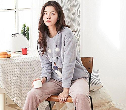 pigiama di flanella invernale da donna set 2 pezzi morbido addensare loungewear, M-XXL , B , l