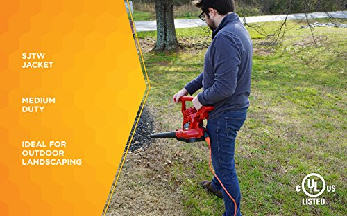 Woods 267 16/3 Outdoor Heavy Duty, Waterproof Flexible Vinyl Jacket, 3-Pronged, 25-Foot Extension Cord, 13 AMP, 1625 Watts, 125 Volts, Ideal for Use with Shop Vac, Weed Wacker, Bush, Orange