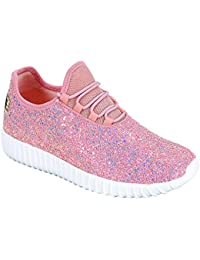 Kids Girls Fashion Metallic Sequins Glitter Lace up Light Weight Stylish Sneaker Shoes