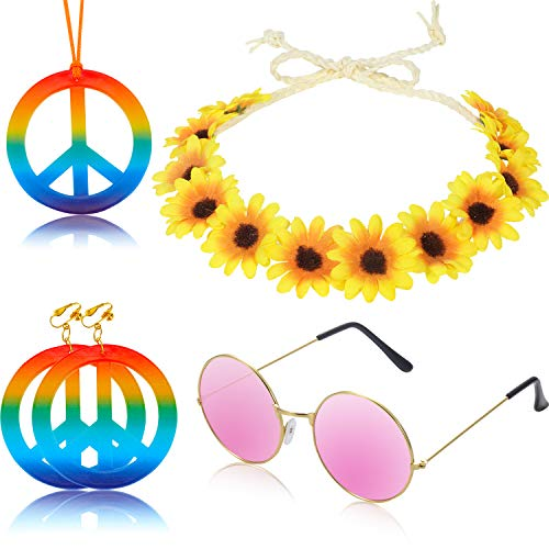 5 Pieces Hippie Costume Accessory Set Rainbow Peace Sign Necklace and Earrings Sunflower Headband, Hippie Sunglasses for Hippie Dressing Supplies ()